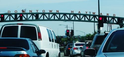 Downtown Hayward, Traffic Jam, Stoplight, Long Saturday