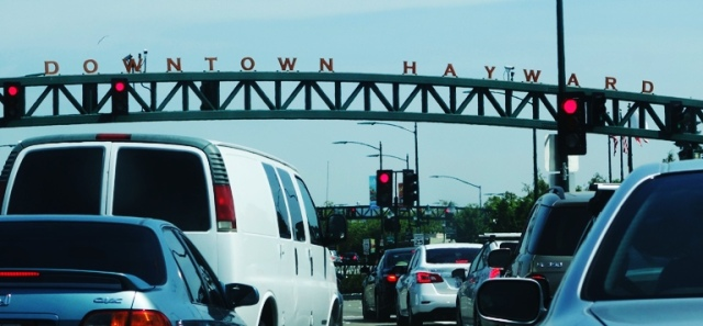 Downtown Hayward, Traffic Jam, Stoplight, Long Saturday