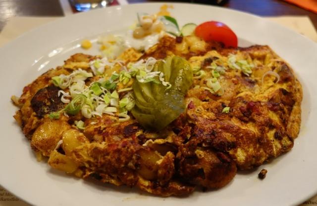 Bauernfrüstück, Farmer's Breakfast, potato omelette with egg, roasted potatoes, onions, bacon
