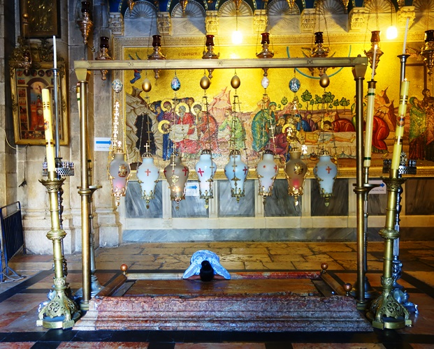 Stone of Anointing, Church of the Holy Sepulcher, Jerusalem,