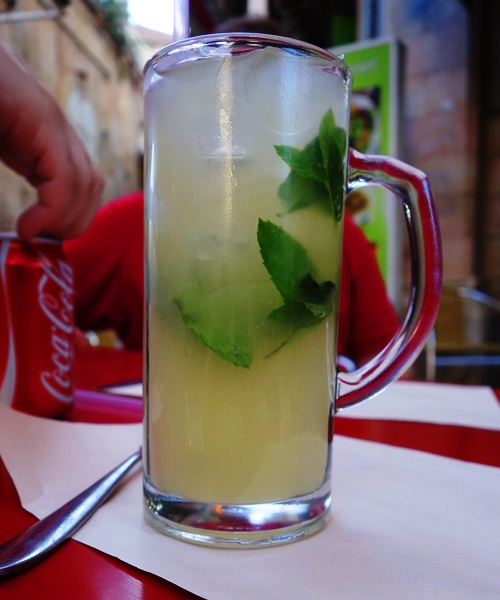 Lemonade, Jerusalem, mint leaves, dinner