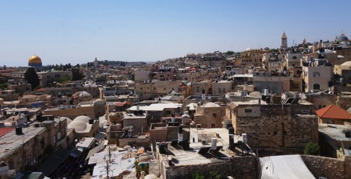 View of Jerusalem, Damascus Gate, Golden Dome, Dome of the Rock, Church of the Holy Seplucre