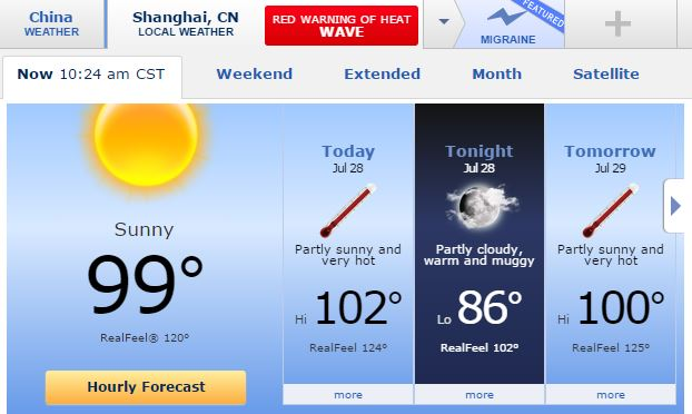 Shanghai Temperatures, Too Hot, Heat Index, Accuweather