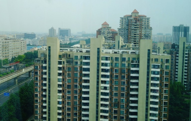 Hotel Room View, High Rise Apartments, Shanghai, China