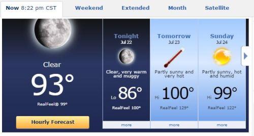 Temperatures, Weather forecast, heat index, AccuWeather