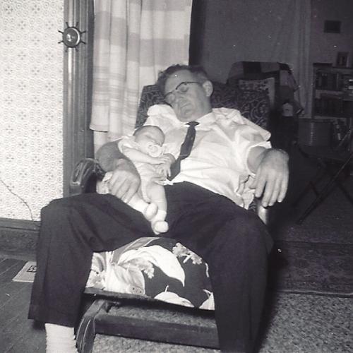 Sleeping, nap time, grandpa and granddaughter, Throwback Thursday