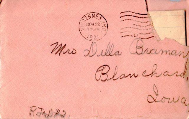 Old envelope, Vincennes, Indiana, 1921