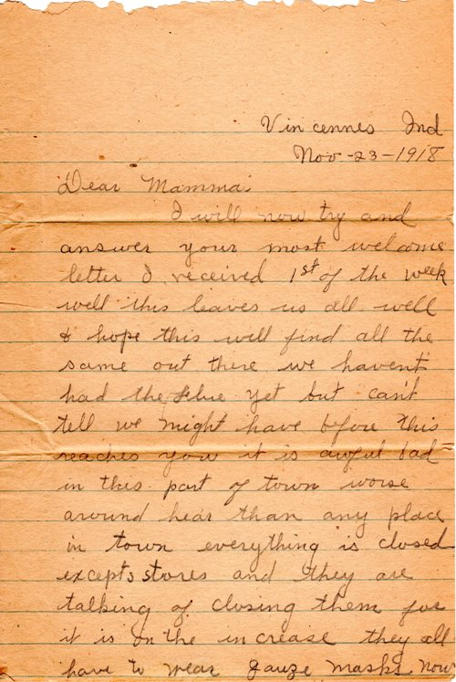 1918 Flu Epidemic, Spanish Flu, Vincennes, Indiana, First Hand Account