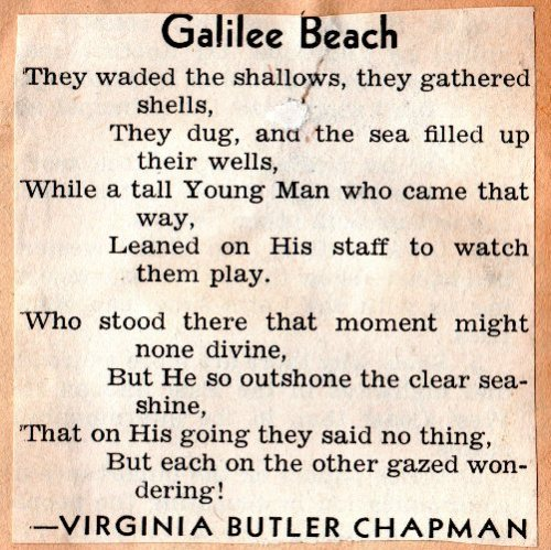 Virginia Butler Chapman, Galilee Beach, Poems, Scrapbook