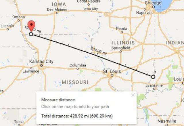 Google Maps, Vincennes to Blanchard, Distance Measurement