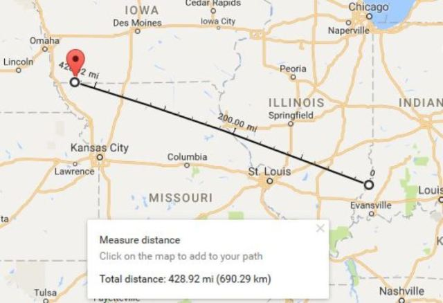 Google Maps, Vincennes to Blanchard, Distance Measurement