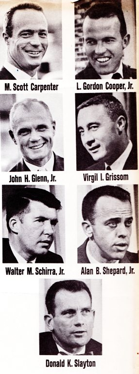 Scott Caprenter, Gordon Cooper, John Glenn, Virgil Grissom, Walter Schirra, Alan Shepard, Donald Slayton