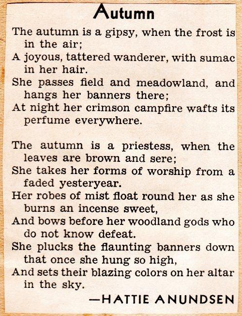 Autumn Poem, Hattie Anundsen, Poetry, Fall Poems, Scrapbook