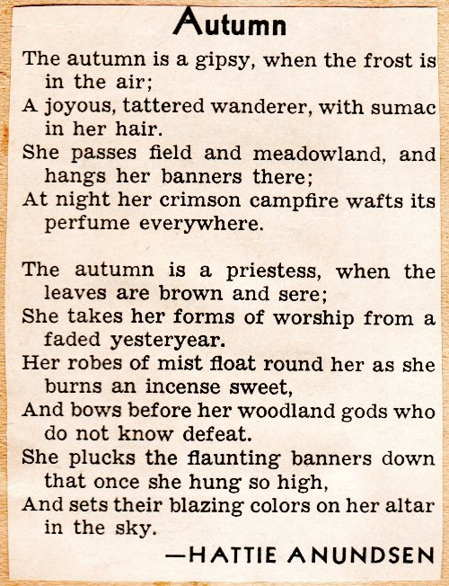 Autumn Poem, Hattie Anundsen, Poetry, Fall Poems, Scrapbook