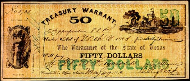 Texas Confederate Dollar, Treasurey Warrant, Civil War