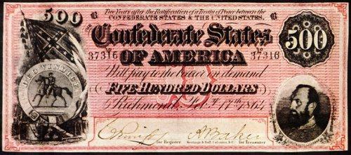 Confederat Currency, 500 dollar note, Civil War, Money