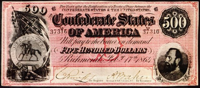 Confederat Currency, 500 dollar note, Civil War, Money