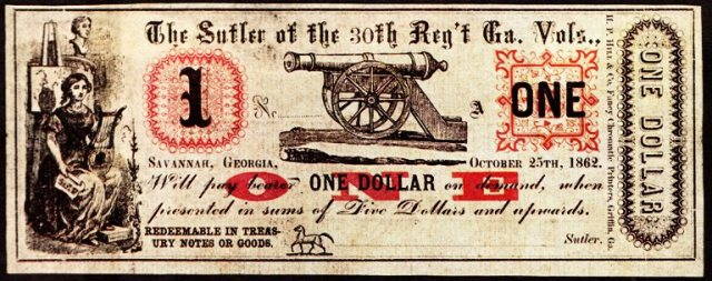 Scrip for Troops, Confederate Money, Georgia Volunteers, Sutlers