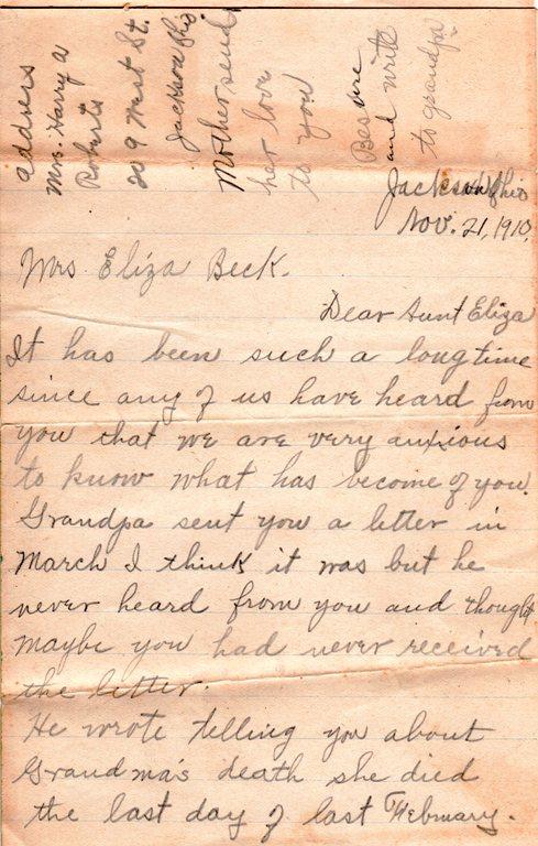 Eliza Jane Reynolds, Genealogy, 1910 letter, Family History