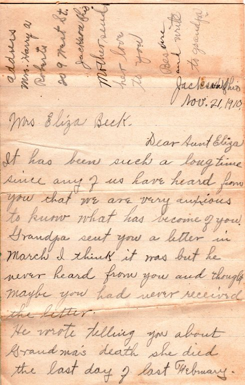Eliza Jane Reynolds, Genealogy, 1910 letter, Family History