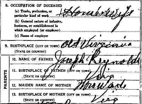 Death Certificate, Atchison County, Missouri, Eliza Reynolds Beck, Virginia, Joseph Reynolds