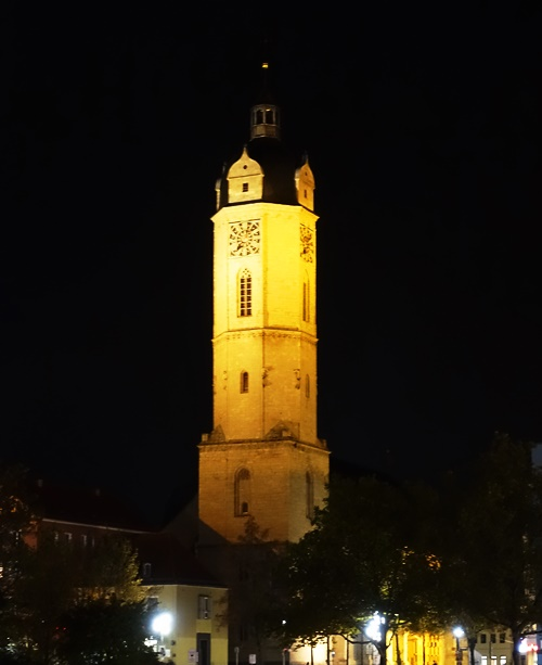 Jena City Church, Jena Germany. St. Michael, Church at night