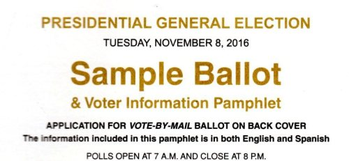 Sample Ballot, California, Elections, Presidential Election