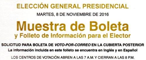 Sample Ballot, Muestra de Boleta, California Elections