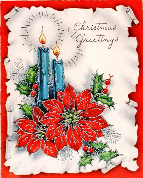 Candles, Poinsetta, Christmas Greetings