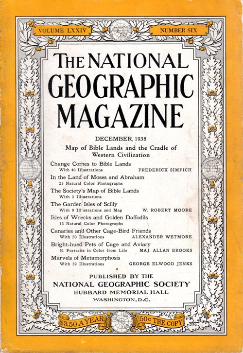December 1938, National Geographic, Holy Land, Bible Lands