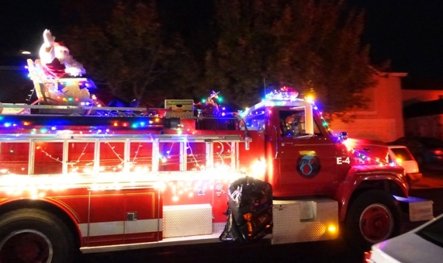 Christmas, Fire truck, Santa Claus, Patterson, California