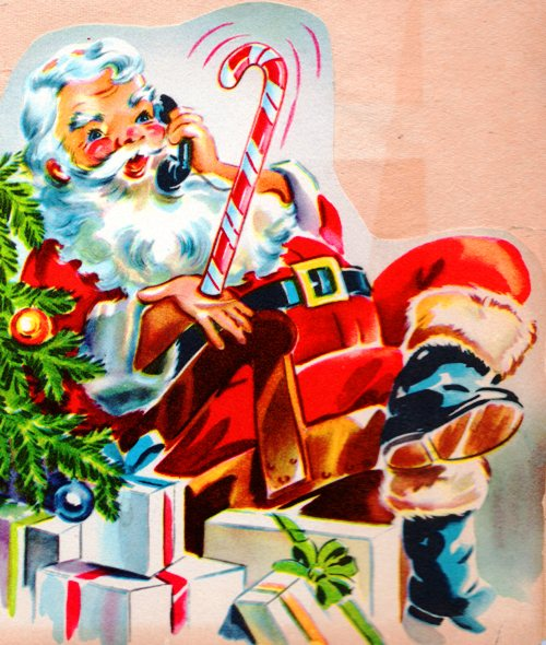 Santa Claus, Phone, presents, candy cane, red suit