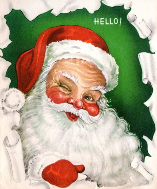 Classic Santa image, red hat, white beard, rosy cheeks, no glasses