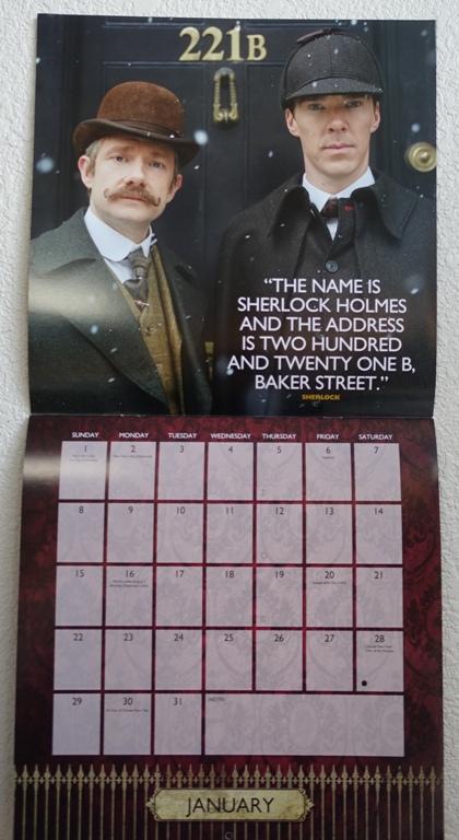 Sherlock Calendar, 2017 Calendar, Sherlock Holmes, 221B Baker Street