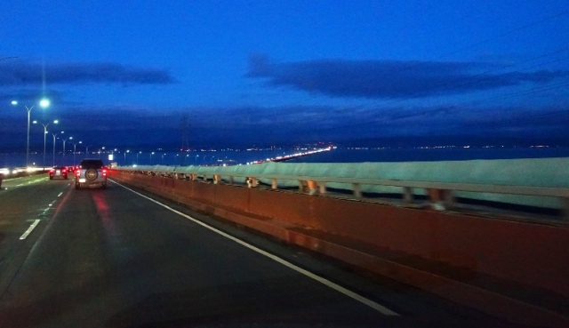 San Mateo Bridge, Bridge at Night, Rainy Night, Traffic