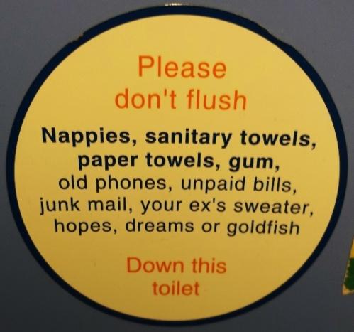 Please Don't Flush, Toilet Sign