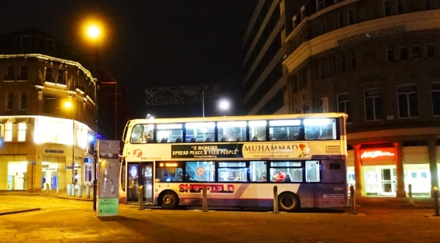 Double Decker Bus, Sheffield England, Night Images