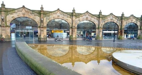 Sheffield Train Station, reflections, UK Train Travel