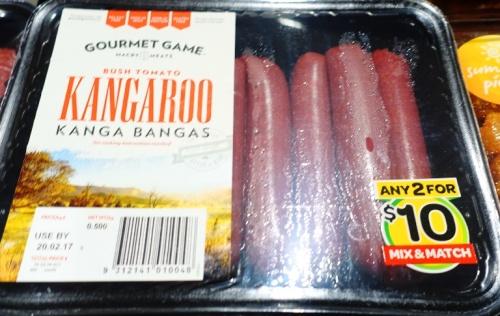 Kangaroo bangers, Kangaroo hot dogs, Australia, Gourmet Game