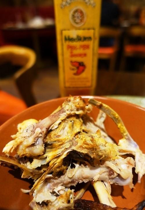 nando's bone bowl, half chicken, peri-peri sauce, Nando's fix