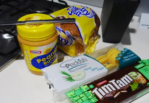 Peanut Butter, bread, crackers, timtams