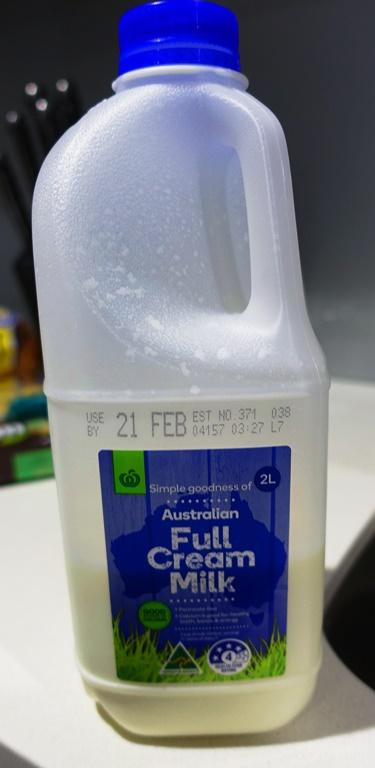 Left over milk, milk for breakfast, Full Cream Milk, Australian