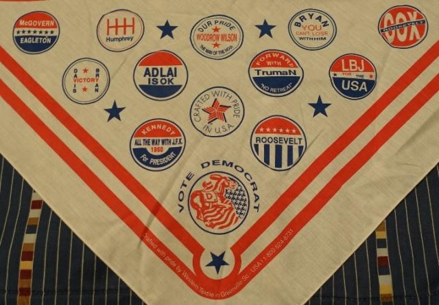 Presidential Logos, Democrat candidates, scarf, logos