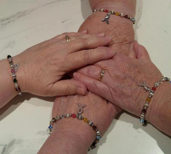 Cancer bracelets, sisters, sisters lunch