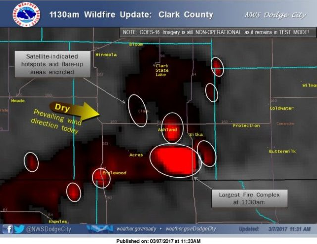 Clark County Kansas, Wildfires, Ranching Country, Satelitte pic, hot spots