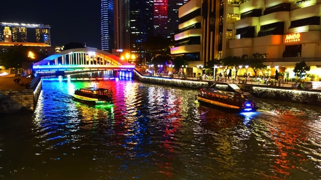 Singapore River boats, rainbow bridge, Singapore River
