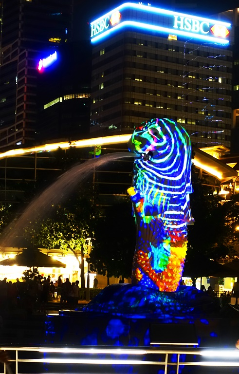 Merlion, Merlion Park, Singapore, colored lights