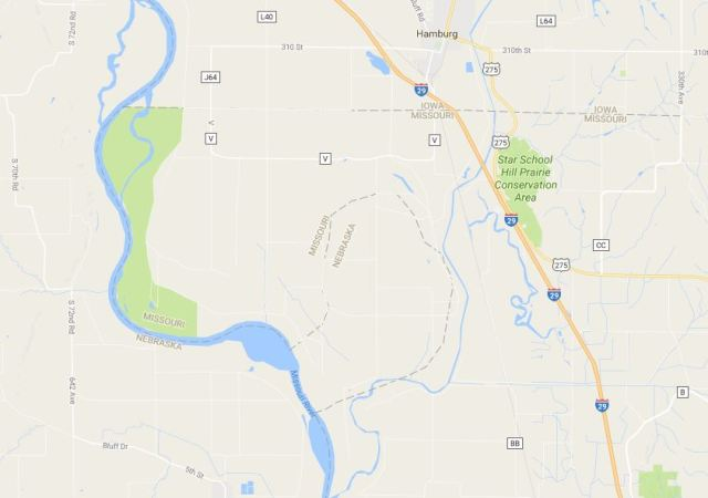 McKissick Island, Nebraska in Missouri, Missouri River, Course Change, Oxbow Lake