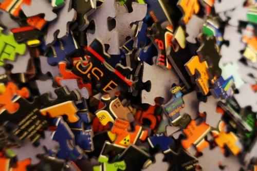 Puzzle pieces, edge pieces, puzzles, doing a puzzle