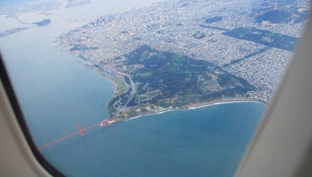 Golden Gate Bridge, UA 747, Upper Deck, Overhead shots
